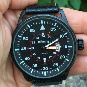 INFANTRY Black Leather/Case Date Large Face Watch